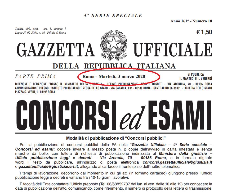 IN GAZZETTA UFFICIALE IL CONCORSO PER 162 POSTI DI ...